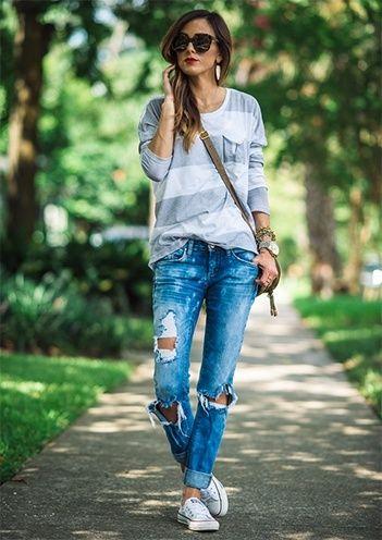 Frauen Used-Look-Jeans