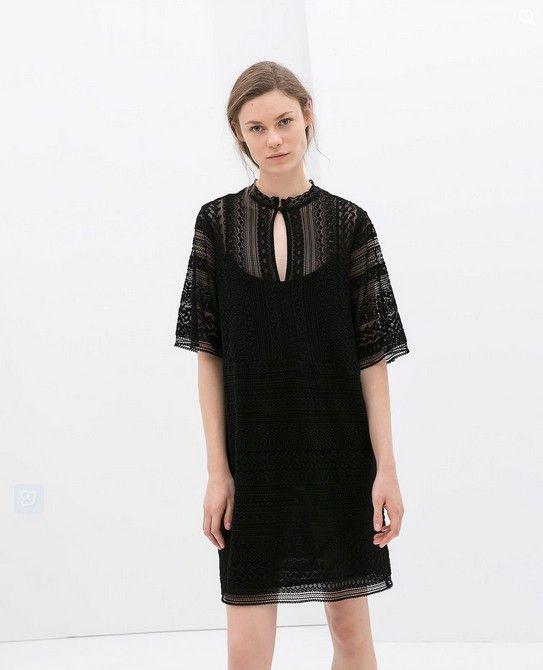 Zara Schwarz Crochet Kleid (80 $)