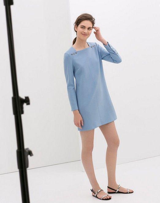 Zara Lang-Hülse Blaues Kleid mit Knöpfen ($ 100)