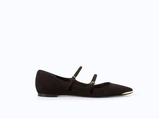 Zara Doppel-Strap Schwarz-Ballett-Ebene mit Gold Tip (60 $)