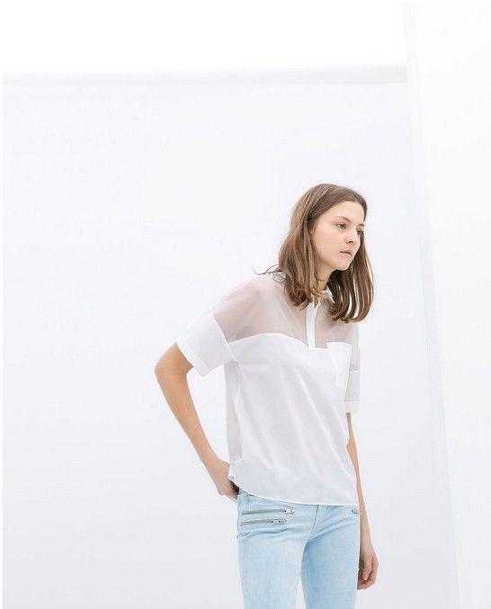 Zara Weiß Sheer-Ausschnitt Organza-Polo-Hemd (60 $)