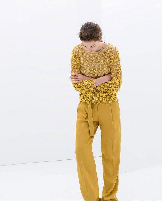 Zara Gelb gestickte Baumwollbluse (80 $)