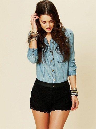 Nette Black Lace Shorts