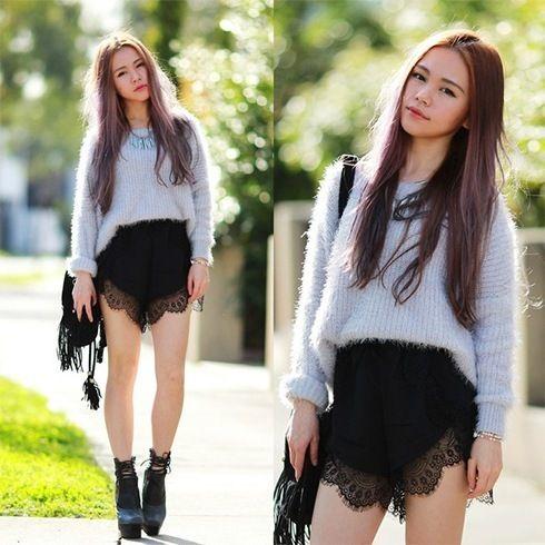 Black Lace Shorts für Damen