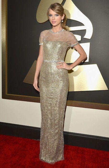 Taylor swift vergoldete metallischen kette-mail-gucci-kleid bei den grammys roten teppich wie zu tragen