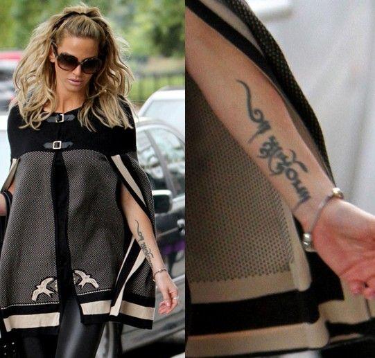 Sarah hardings tätowierungen - schriftzug tattoo auf unterarm