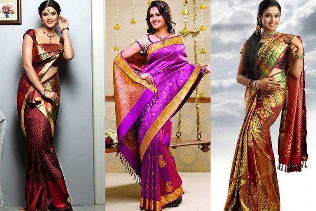 Südindisch hochzeit saris: unberührt von der art und weise zu ändern