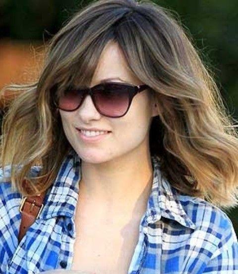 Olivia Wilde Frisuren: Recht mittlere Wellenförmige Haircut