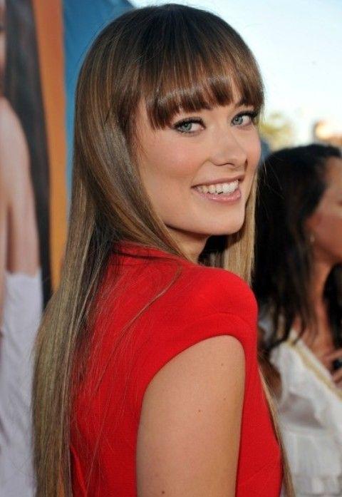 Olivia Wilde Frisuren: Gerade Haircut mit Bangs