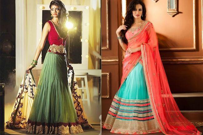 Trendy lehenga stil saree für ihren großen tages