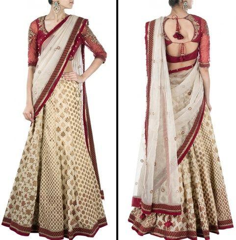 Lehenga Stil Saree für Hochzeit