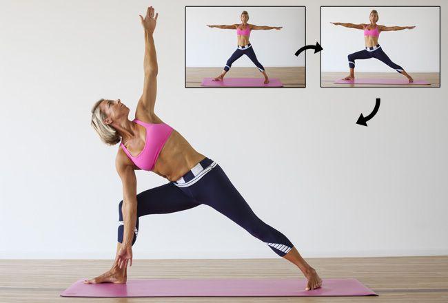 Triangle Yoga-Haltung / Trikonasana - Frauen`s Health & Fitness